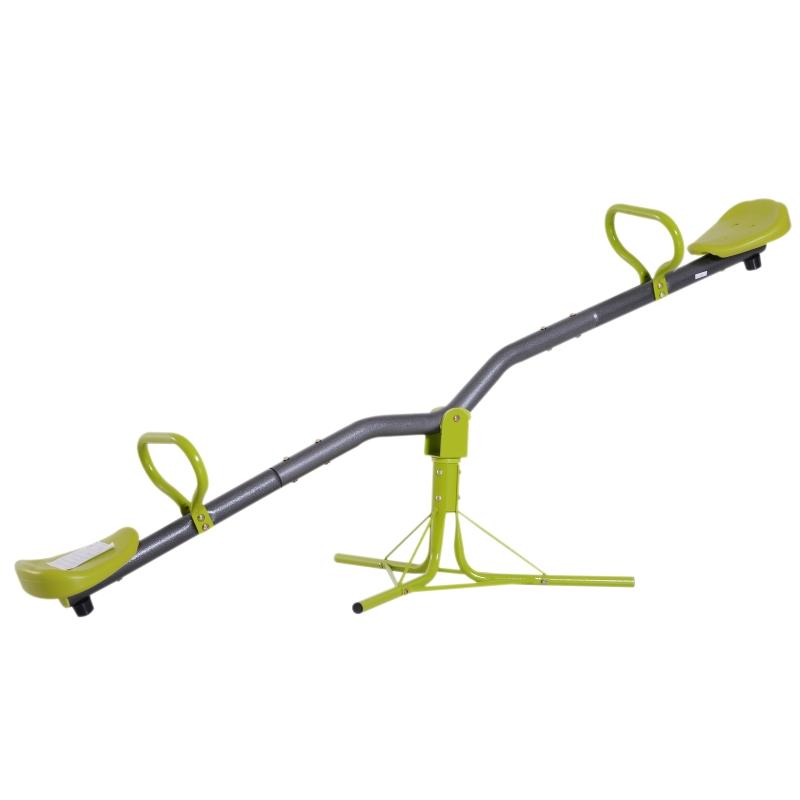 Dziecięca ogrodowa huśtawka równoważna huśtawka obracana o 360° huśtawka karuzelowa metal szary zielony
