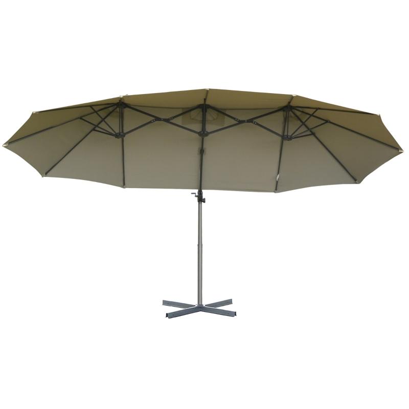 Parasol z korbką podwójny parasol parasol ogrodowy ochrona przeciwsłoneczna metal brązowy