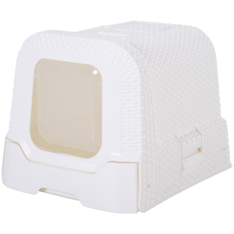 PawHut® Kuweta Toaleta dla Kota Obudowa Łopatka Pokrywa Mata Uchwyt PP Biały