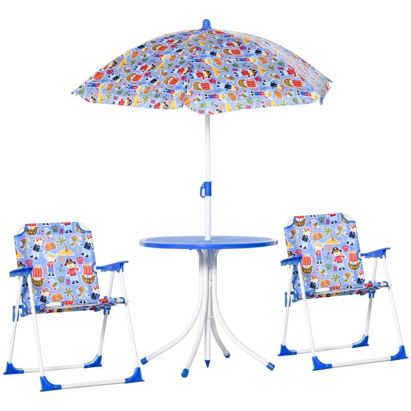 4-częściowy Komplet stolik z krzesłami dla dzieci stół ogrodowy 2 składane krzesła parasol 3–5 lat niebieski
