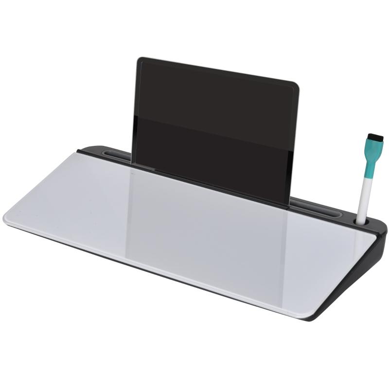Organizer na biurko tablica na notatki ze stojakiem na tablet szkło PP