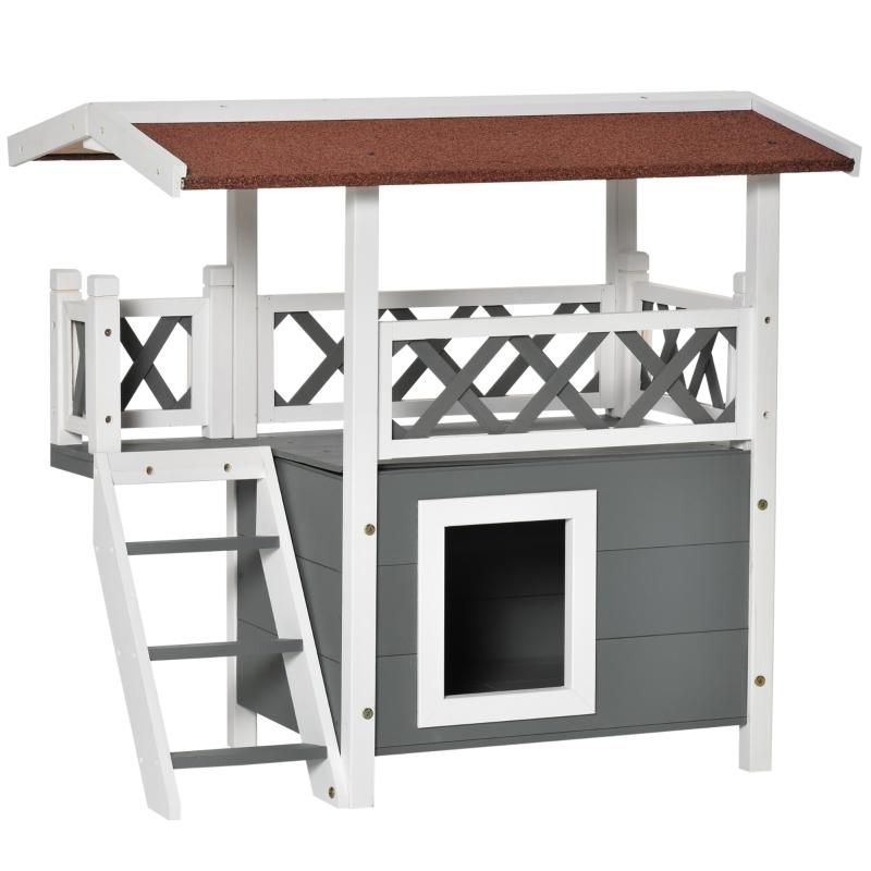 PawHut domek dla kota z asfaltowym dachem, 2-kondygnacyjny, domek dla kota z balkonem, willa dla kota ze schodami, lite drewno, biały, 77 x 50 x 73 cm