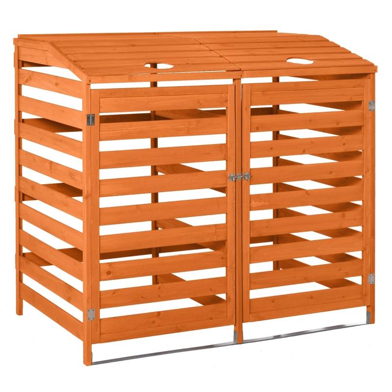 Outsunny® Mülltonnenbox mit Fronttüren Mülltonnecontainer für zwei 240L-Tonnen Massivholz