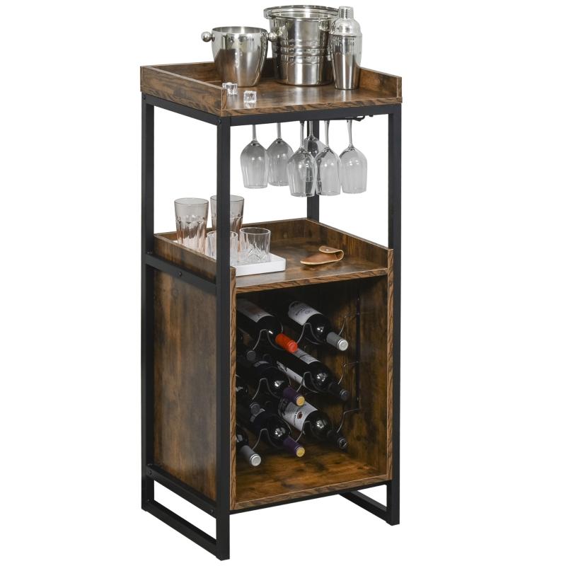 Stojak na wino szafka na 9 butelek z 2 otwartymi półkami i uchwytem na kieliszki brązowy