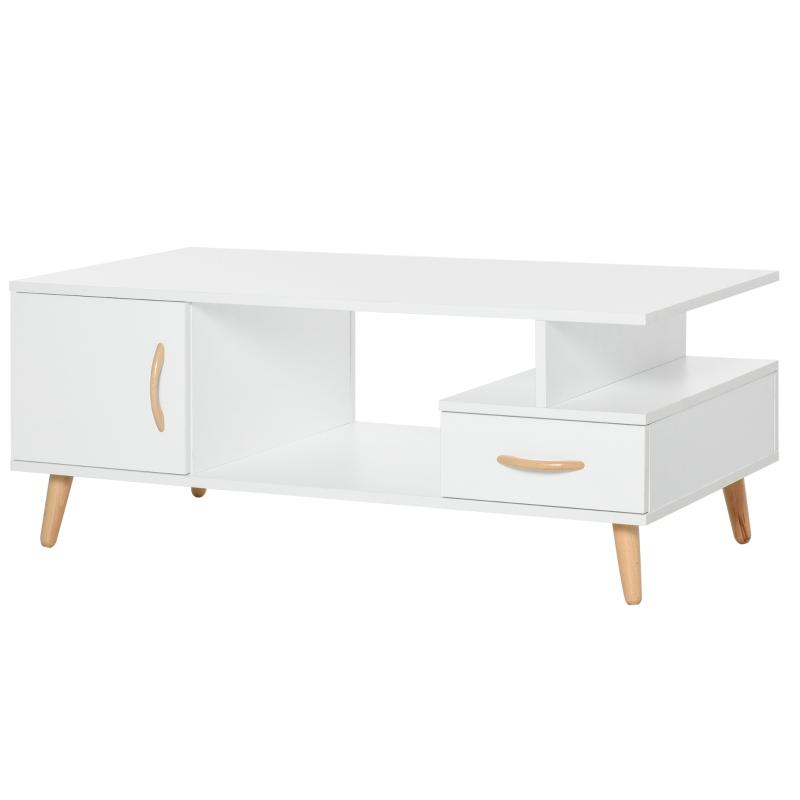 Stolik kawowy nowoczesny stolik z szufladą z płyty wiórowej biały
