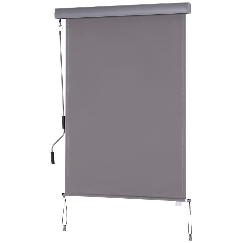 Roleta okienna z korbką ręczną montaż ścienny/dachowy UV50+ aluminium szary 100 x 140 m Outsunny