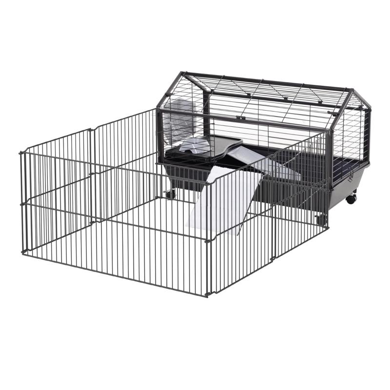 Pawhut Klatka dla gryzoni klatka dla królików Klatka dla świnek morskich małe zwierzę z balkonem ogrodowym metal 88 x 128,5 x 56 cm