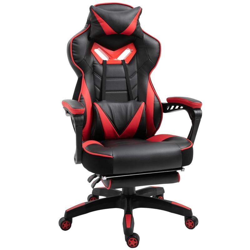 Ergonomiczne krzesło biurowe Fotel gamingowy Krzesło obrotowe z regulowanym oparciem czerwony