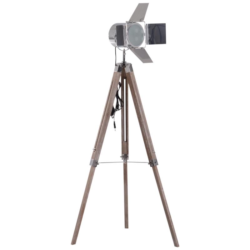 Homcom® LAMPA STOJĄCA NA TRZECH NOGACH REGULACJA WYSOKOŚCI 103-146 cm urbanistyczna E14 srebrna