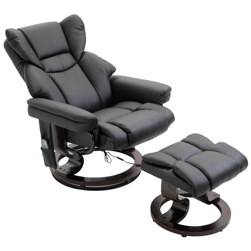 Fotel masujący z podnóżkiem Fotel relaksacyjny z funkcją ogrzewania 135° nachylenia PU Czarny 79 x 82 x 101 cm HOMCOM®
