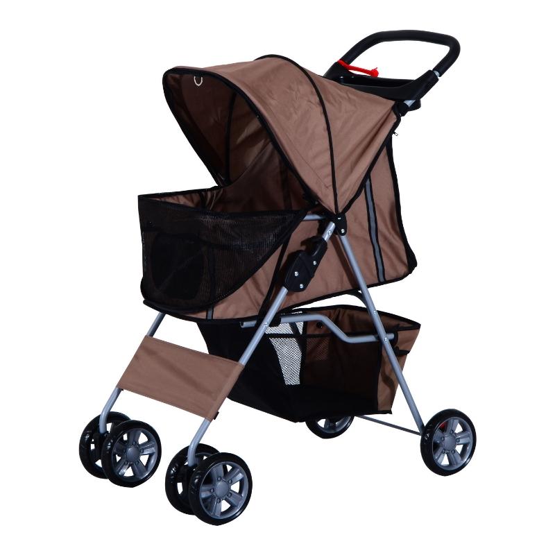 Wózek dla psa kota spacerowy transporter brązowy PawHut