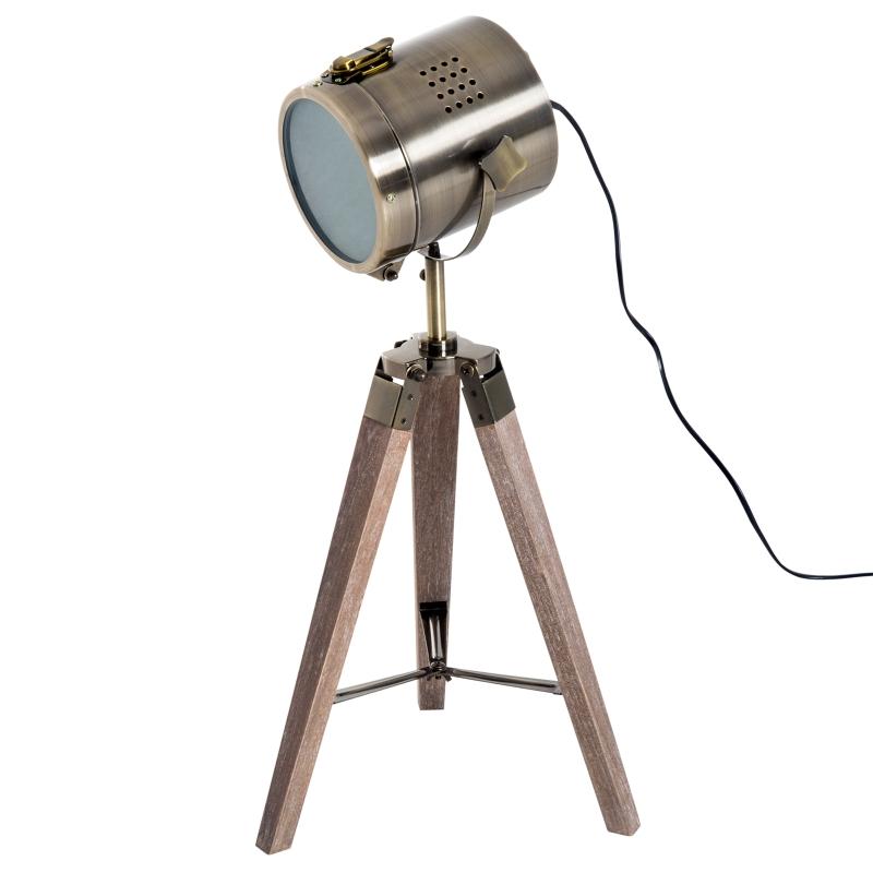 HOMCOM® LAMPKA STOŁOWA  NA TRZECH NOGACH LAMPA RETRO E14  drewniana brąz