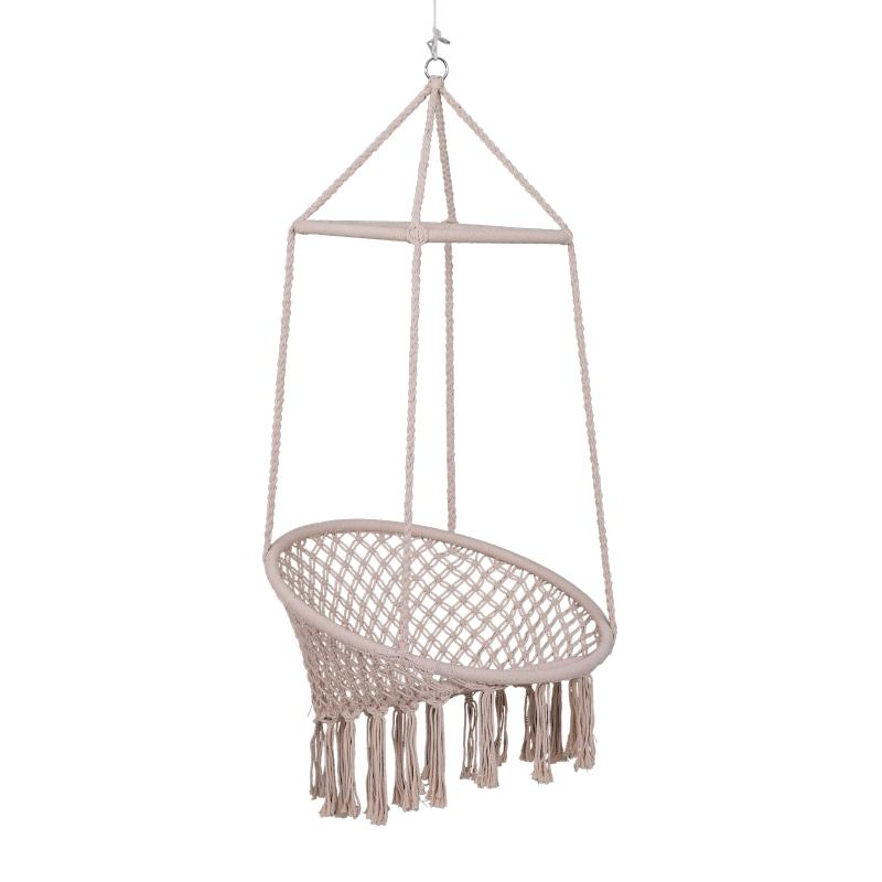 Hamak krzesło wiszące styl boho bawełna+metal beżowy do 120 kg Outsunny