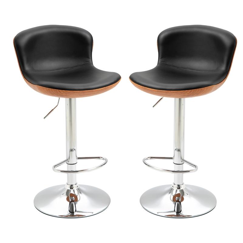 Stołek barowy z podnóżkiem zestaw 2 szt. Krzesło barowe z regulacją wysokości obrotowe PU czarny
