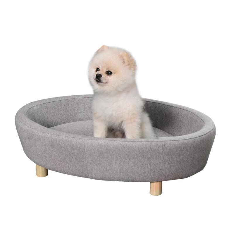 Sofa dla zwierząt domowych Sofa dla psa średniej wielkości psy koty owalna szary