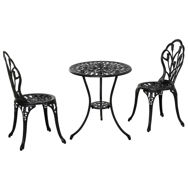 Zestaw mebli ogrodowych 3-częściowy 1 stół + 2 krzesła aluminium kolor czarny