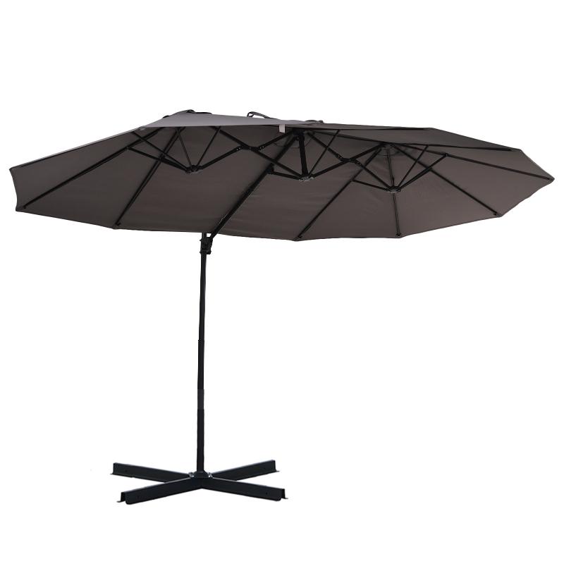Parasol z korbką podwójny parasol parasol ogrodowy ochrona przeciwsłoneczna metal szary
