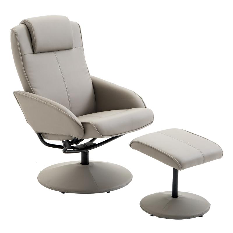 HOMCOM Adjustable Recliner Swivel Leather Armchair 360° Rotatable Stool W/ Footrest Grey