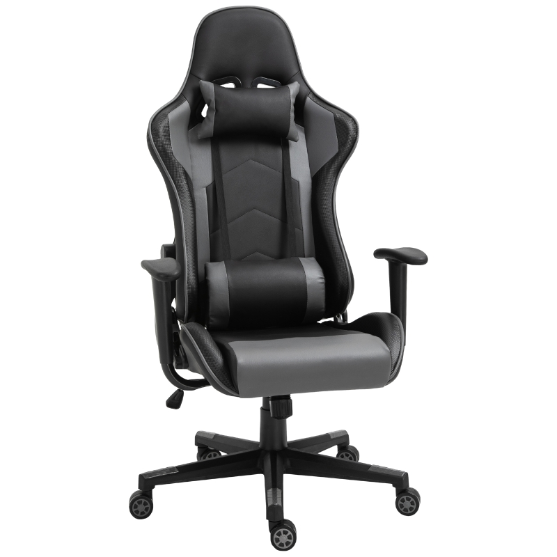 Vinsetto PU Leather Ergonomic Racing Chair w/ Adjustable Pillow Black