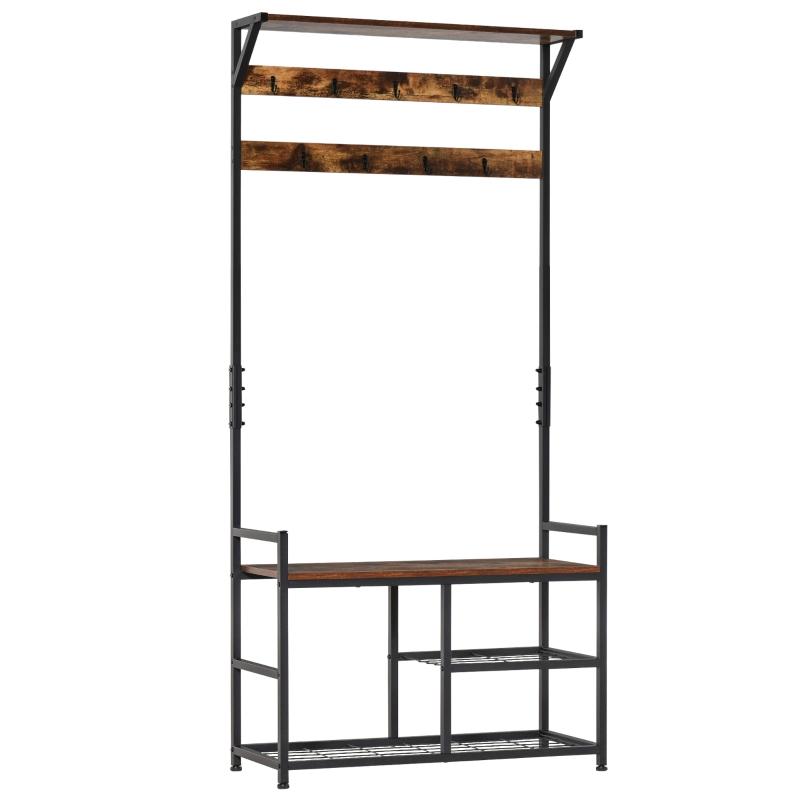 HOMCOM Coat Rack Stand Shoe Storage Bench with 9 Hooks Shelves 180cm