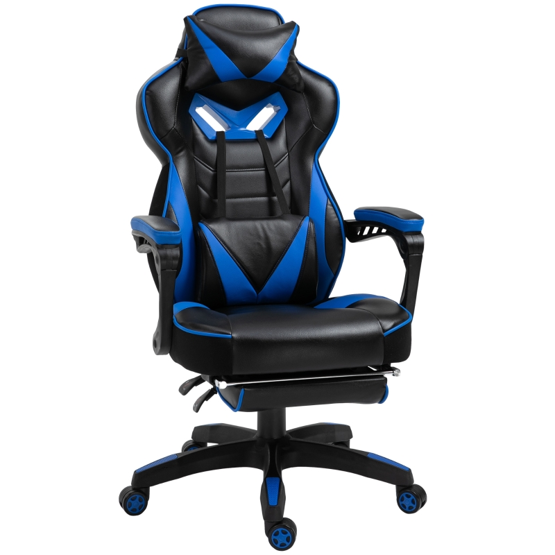 Vinsetto PU Leather Retractable Footrest Gaming Chair w/ Pillows Blue/Black