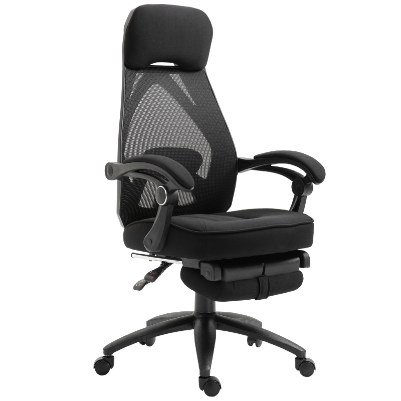 Vinsetto Swivel Mesh Back Office Chair w/ Retractable Footrest High Back Adjustable Height Black