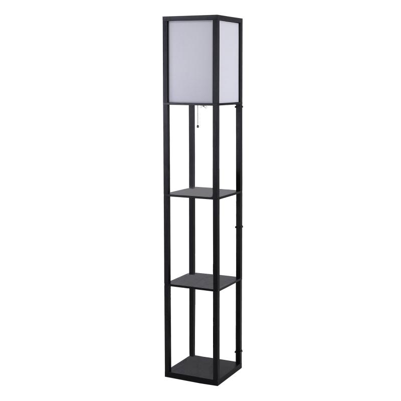 HOMCOM Shelf Floor Lamp, 4-tier Open Shelves, 26L x 26W x 160Hcm-Black/White