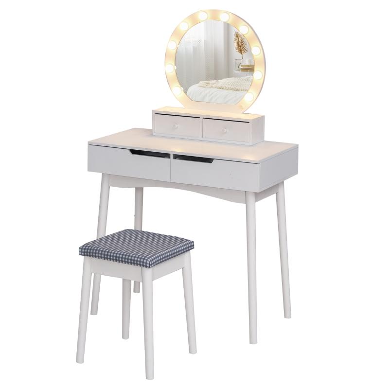 HOMCOM MDF 10-LED Light Dressing Table w/ Stool White