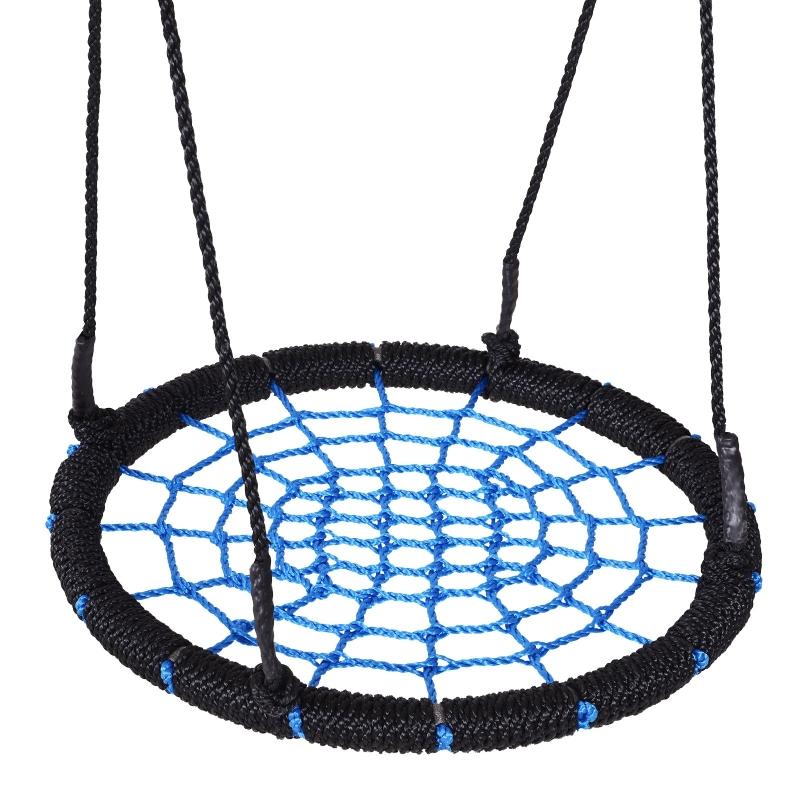 HOMCOM 60cm Spider Web Tree Swing Round Kids Hanging Rope Seat Metal Outdoor Toys
