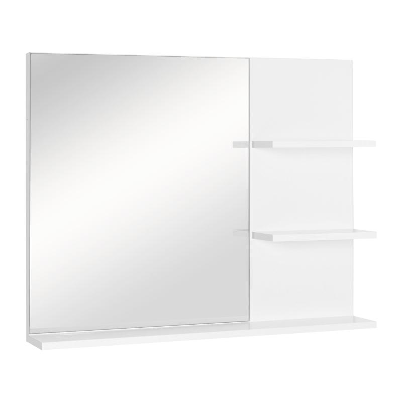 kleankin Lustro łazienkowe z 3 półkami, Lustro ścienne, Półki z lustrem, łazienka, MDF, biały, 60 x 10 x 48 cm