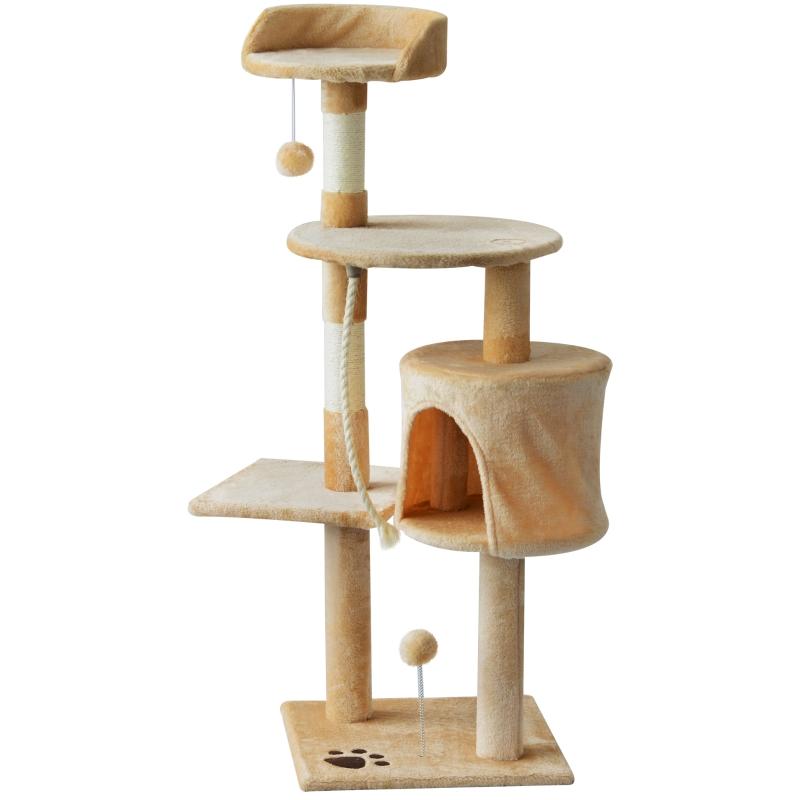 PawHut Cat Tree House, 114H cm-Beige