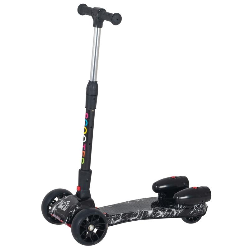 HOMCOM Kids Tri-Wheel Plastic E-Scooter w/ Engine-Look Water Spray Black