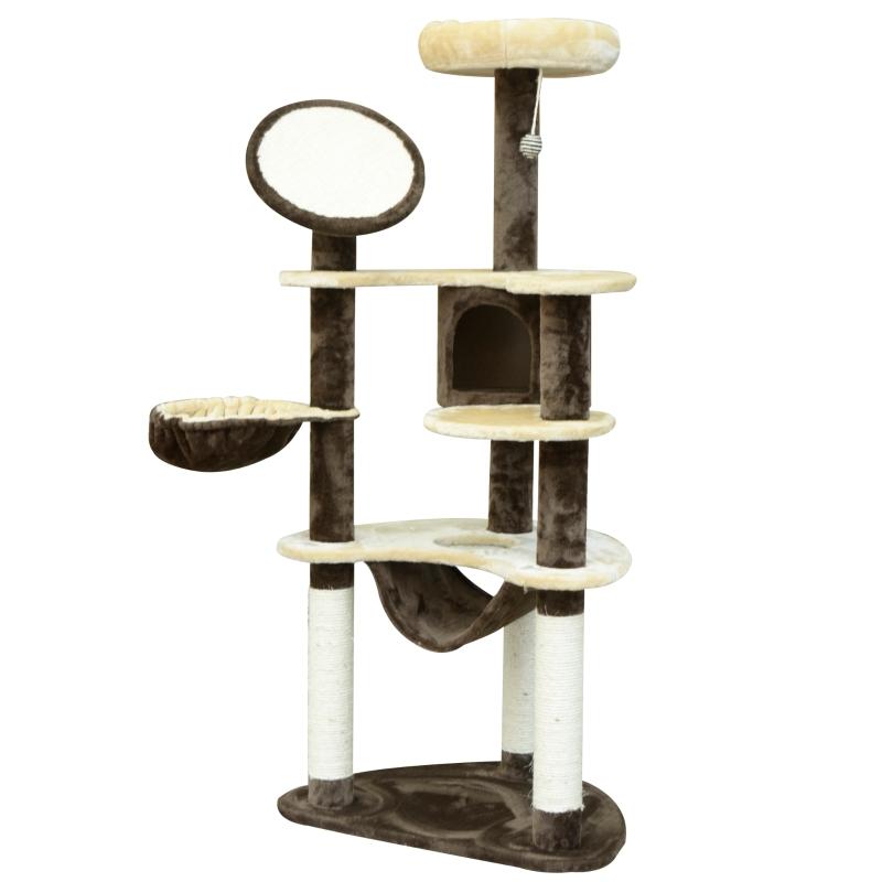 PawHut Cat Tree Scratching Tower 153 H cm-Brown /Beige