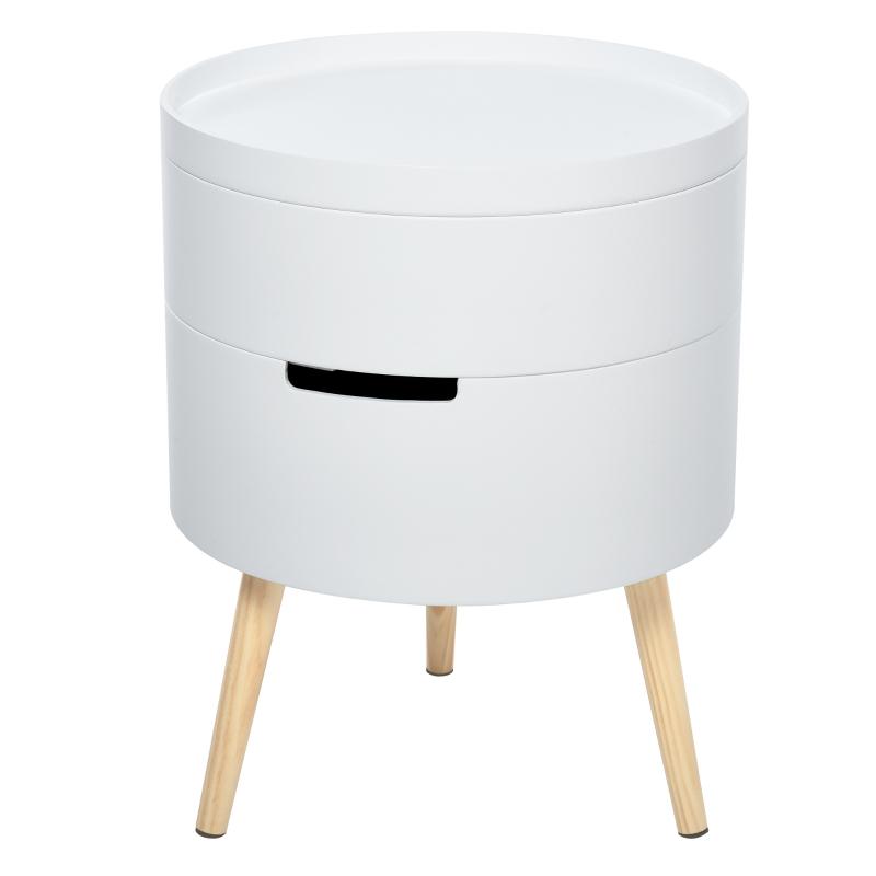 Szafka nocna stolik kawowy stoliczek z 2 schowkami dowolne kombinacje drewno kolor biały