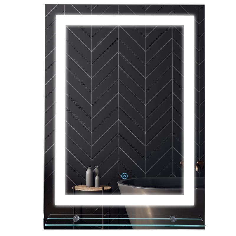 kleankin Glass Illuminated LED Edge Tall Bathroom Mirror - 70x50cm