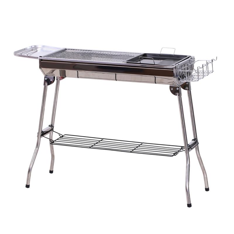 Outsunny® Grill Węglowy Piknikowy Stojący Składany Stal Szlachetna Srebrny