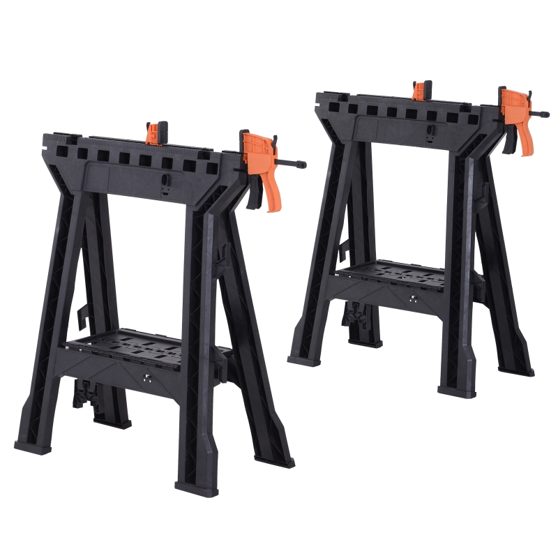Durhand Foldable Clamping Sawhorse Trestle Twin Support Bars Cutting Stands Workbench