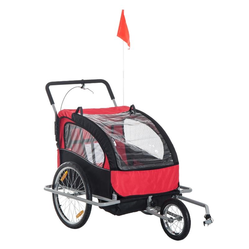 HOMCOM 2 in 1 Child Bike Carrier, 2-Seater-Red