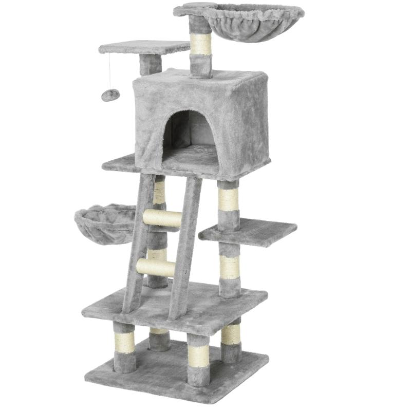 PawHut Cats 6-Tier Sisal Rope Activity Tree w/ Dangle Toy Grey