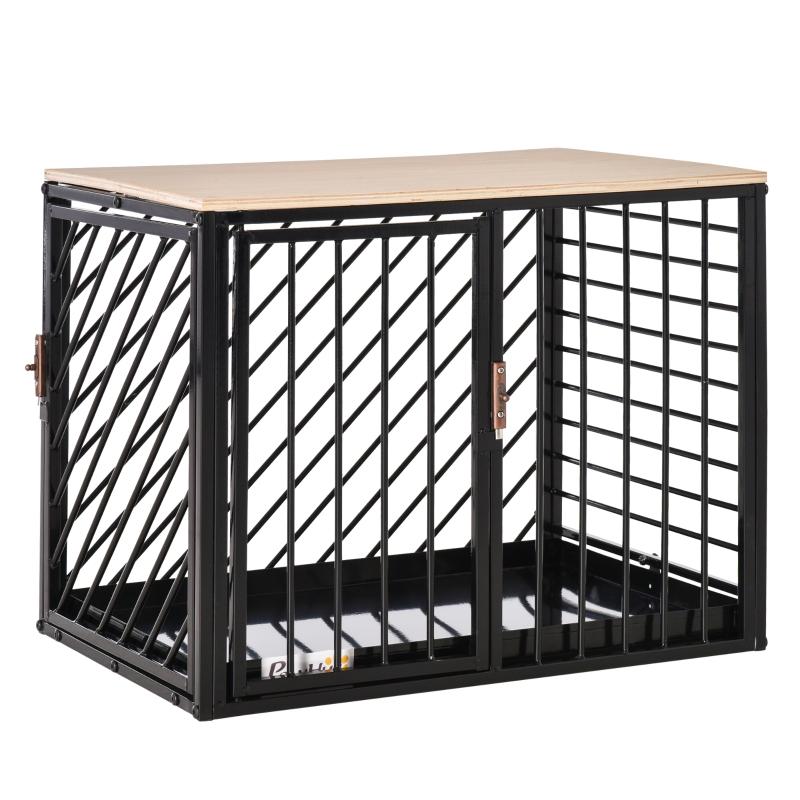 PawHut Heavy Duty Steel Mini & Small Dog Crate w/ Tray Black 61L x 44W x 49H cm