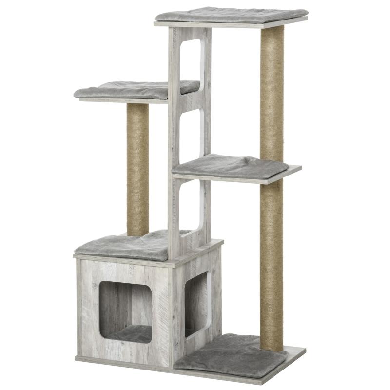 PawHut Cats 5-Tier Jute Rope Scratching Tree Grey