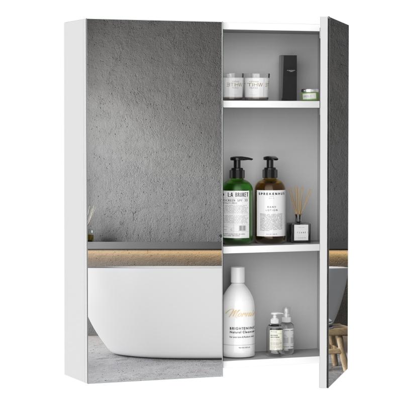 HOMCOM Double Door Wall Mount Mirror Cabinet, 75x60x15 cm-White