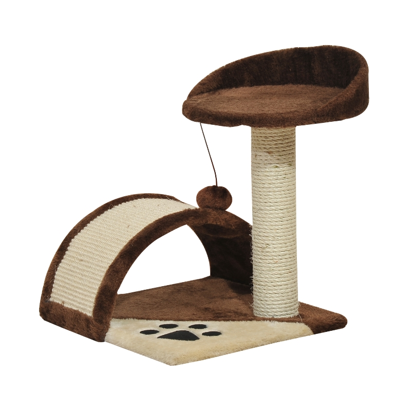 PawHut 2-Tier Cat Tree Scratching Post with Dangle Toy Brown