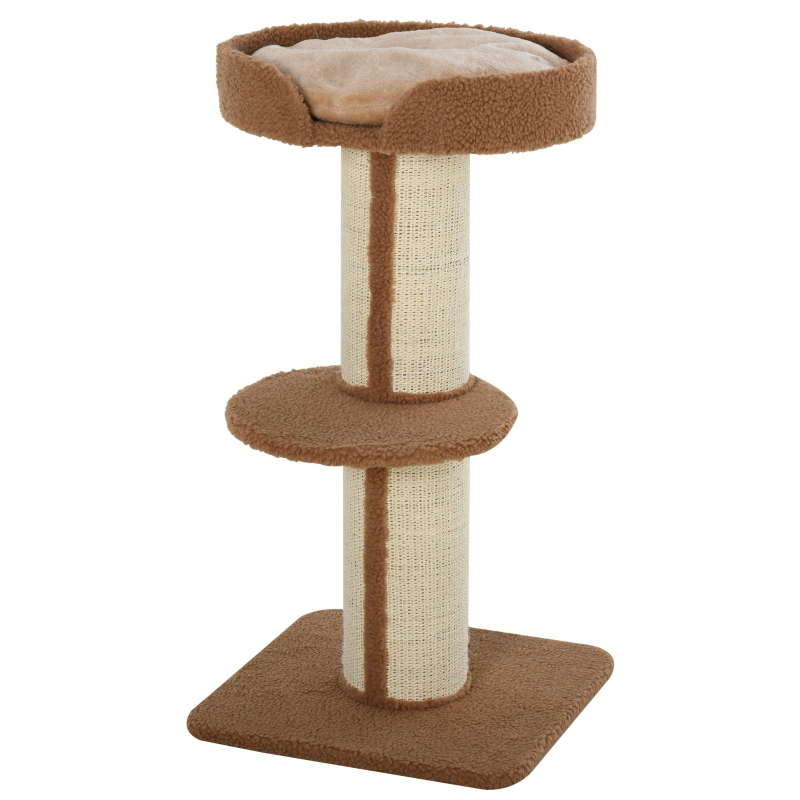 PawHut Cats 2-Tier Scratching Tree w/ Bed Brown