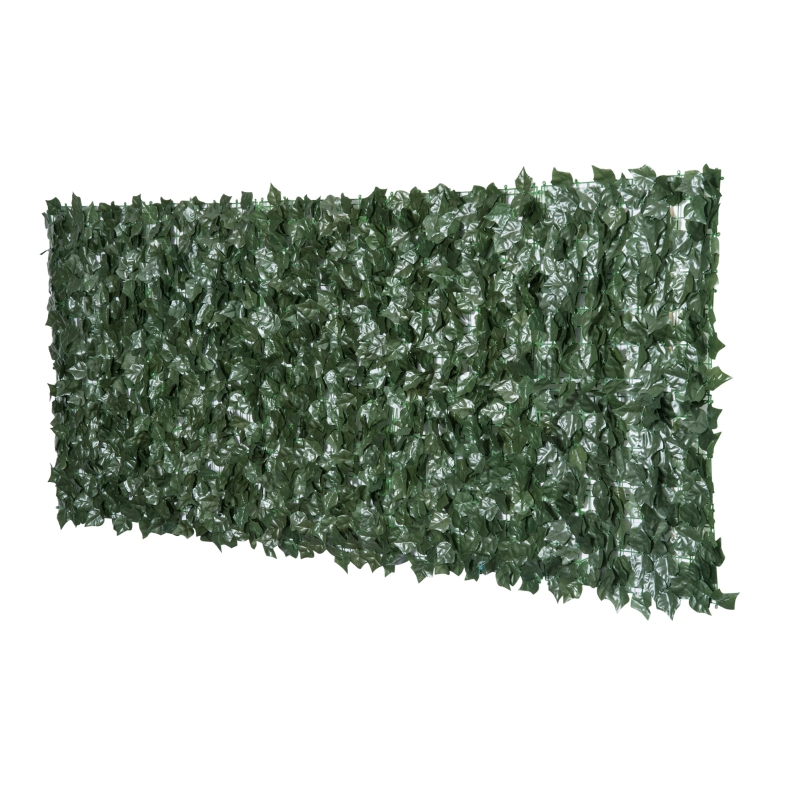Outsunny Artificial Leaf Screen Panel, 2.4x1 m-Dark Green