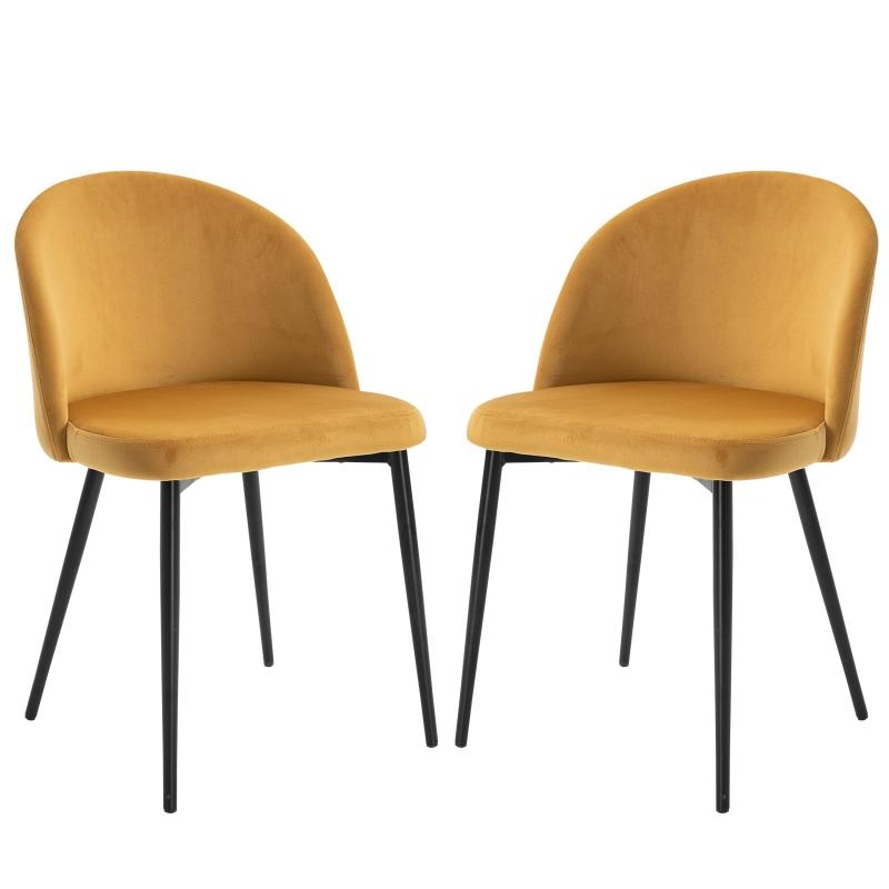 HOMCOM Velvet Contemporary Set Of 2 Kitchen Dining Chairs Mustard