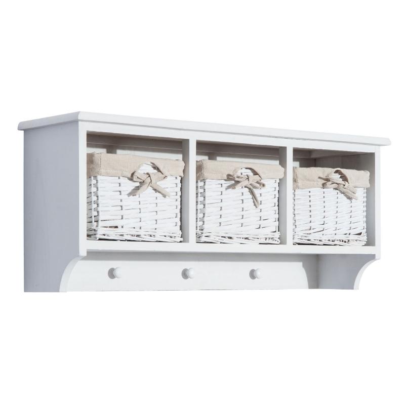 HOMCOM Wall Mounted Coat Hook Storage Unit W/3 Baskets-White