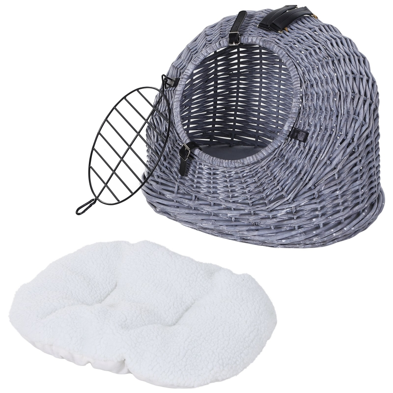 PawHut Cats Wicker Travel Carrier Basket w/ Plush Cushion Grey