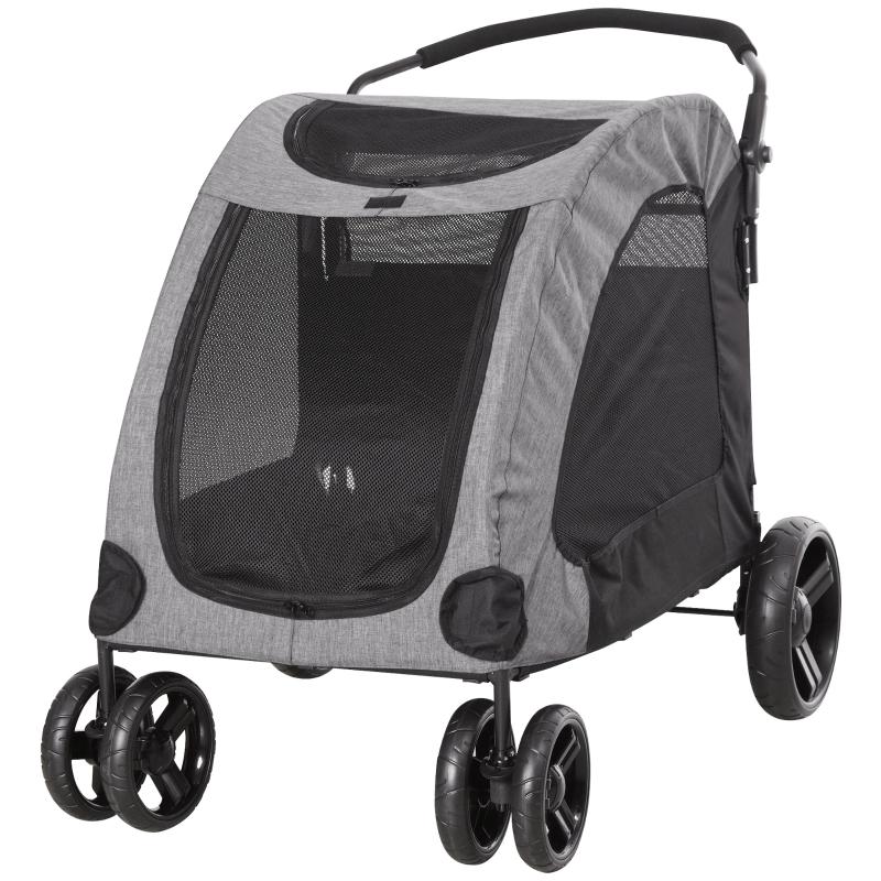 Wózek dla psa wózek dla psów przyczepka dla psa torba dla psa składany szary+czarny