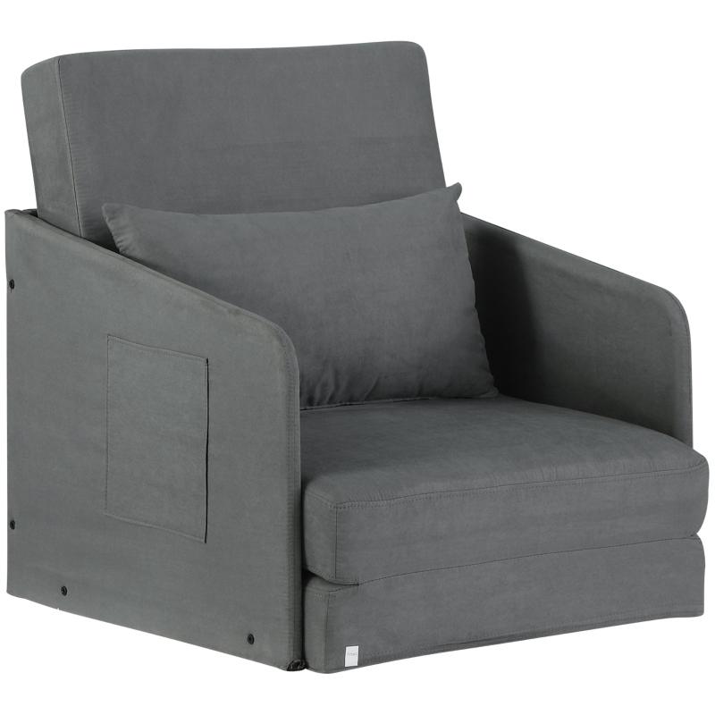 HOMCOM Faux Suede Single Sofa bed W/Pillow-Grey
